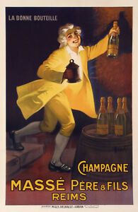 Original-Vintage-Poster-Marcelin-AUZOLLE-CHAMPAGNE-MASSE-Reims-1920