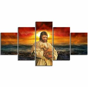 Jesus-and-Lamb-in-Sunset-5-Pcs-Canvas-Printed-Wall-Poster-Picture-Home-Decor