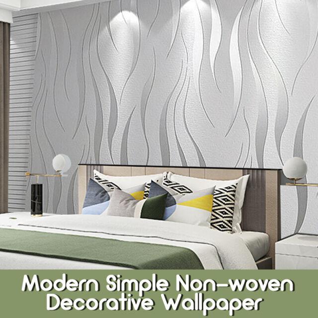 Uk Waterproof 3d Embossed Wallpaper Roll Glitter Effect Silver 10m Living Room