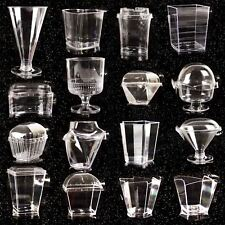 Disposable Canape Dishes Dessert Cups Clear Plastic Lids ALL TYPES MEGA LISTING