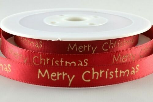 Rojo O Dorado Cinta de Raso 10mm X 20 Metro Rollo Impreso De Navidad Verde