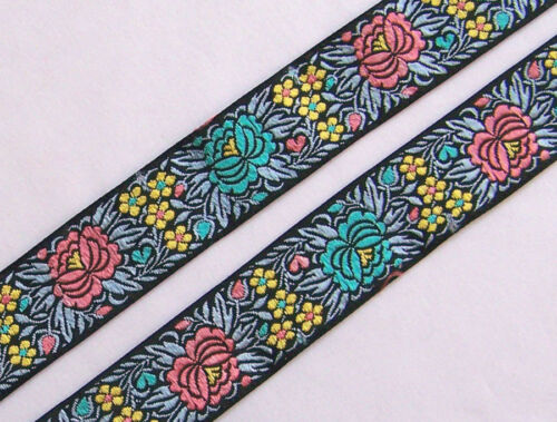 Ribbon Trim Colorful Flowers Jacquard