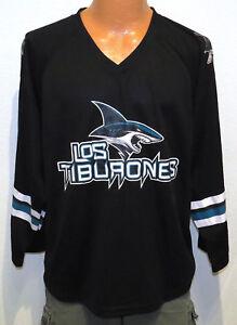 LOS-TIBURONES-San-Jose-Sharks-JERSEY-MED-black-nhl-promo-rare