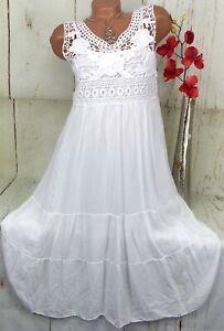 Kleid Strandkleid Tunika Lagenlook Hängerchen Weiß ...
