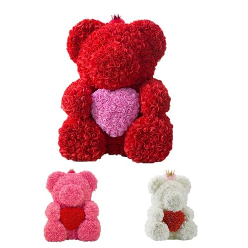 25Cm Teddy Bear With Crown In Gift Box Bear Of Roses Artificial Flower New R1F6