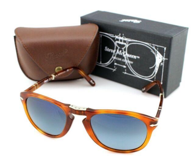 06e13f4bfe POLARIZED Steve McQueen PERSOL Folding Havana Blue Sunglasses PO 714 SM  96 S3 54
