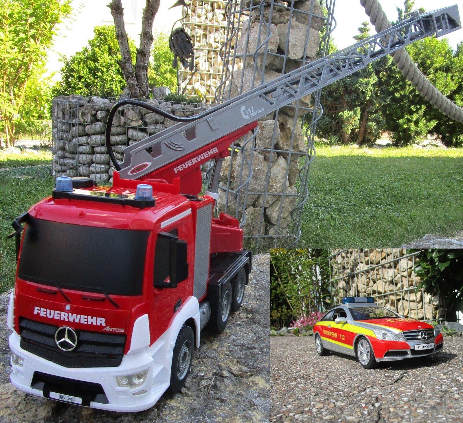 RC Feuerwehr Mercedes 2 er Set + Car 2,4 GHz 1 20 & Sprirtzfunktion 404960 7