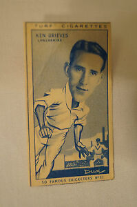 1950-Vintage-Cricket-Card-Carreras-Turf-Slides-Ken-Grieves-Lancashire