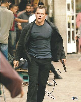 Humble Matt Damon Signed 11x14 Photo Bourne Identity Beckett Bas Autograph Auto G Strengthening Waist And Sinews Movies Entertainment Memorabilia