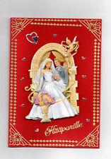3D Glückwunschkarte zur Hochzeit,Grußkarte rot, Hochzeitspaar,K1