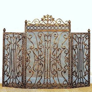 Fleur De Lis Regal Burnished Antique Gold Fireplace Screen French Country Tuscan Ebay