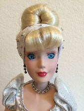 "Disney Princess 16"" Porcelain Cinderella Doll Silver Dress HTF STAND Collectible"