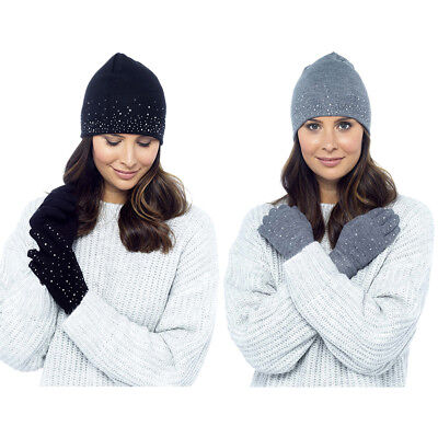 Ladies Women Diamante Hat and Gloves Set Winter Foxbury One Size Cosy Mittens