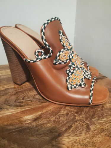 TORY BURCH Palisade NEW BRN Embroidered Block Heel