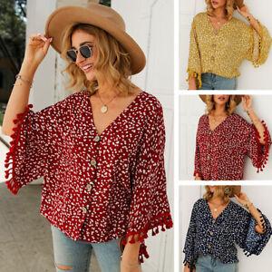 Summer-Womens-Fringed-Sleeve-V-Neck-Button-Tops-Loose-Blouse-Shirt-Beach-Wear