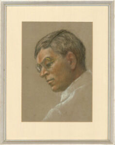 Ella Bennett - Framed Contemporary Pastel, Profile of a Man in Spectacles