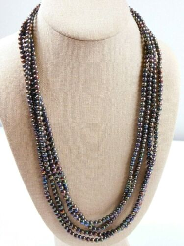 Very long vintage continuous pearlised glass bead necklace
