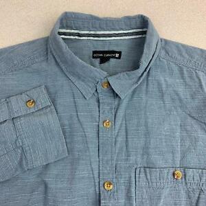 Ocean-Current-Button-Up-Shirt-Mens-XL-Blue-Long-Sleeve-100-Cotton-Casual-Shirt