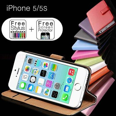 iPhone SE 5S 5 Genuine Leather Flip Wallet Case Cover For Apple