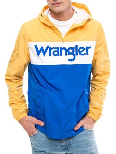 WRANGLER 80s Retro Men Overhead Jacket Light Hooded Anorak Pull Over Yellow Blue