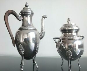 Ancienne-theiere-sucrier-argente-poincon-Old-teapot-sugar-silverplated-empire