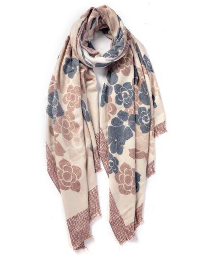 Fashion Warm Winter Women Long Cashmere Floral Pattern Scarf Large Shawl Scarf W