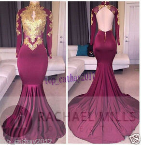 Muslim-Long-Sleeve-Mermaid-Lace-High-Neck-Wedding-Formal-Prom-Gown-Party-Dresses
