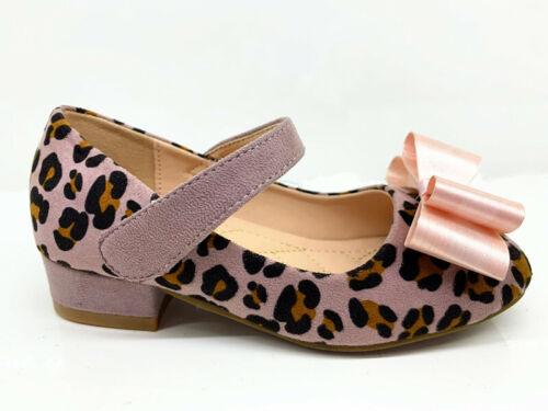 Girls kids children low heel party wedding mary jane sandals Leopard Print Shoes
