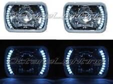 7X6 White LED Halo Projector Halogen Crystal Headlights Angel Eye H4 Light Bulbs