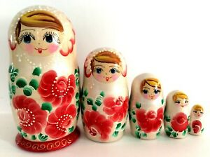 New 5/'/' Tall Hand Painted Russian Nesting Doll 10 Pс Set Made In Russia