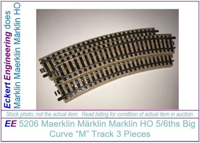 vintage ho Gauge Marklin 3 Rail Track 2 curved pieces
