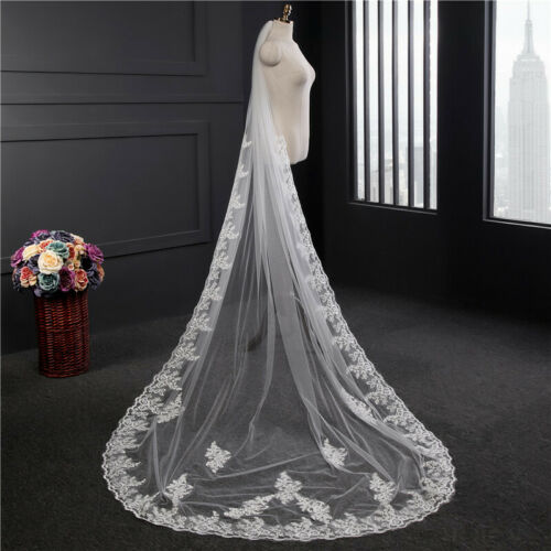 White Ivory 3 M One Layer Lace Applique Tulle Long Wedding Veil Bridal Veils