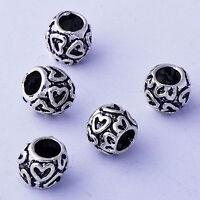 5pcs 10mm Tibetan Silver Large Hole Heart Charm Beads For European Bracelet
