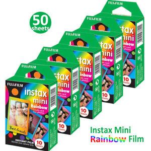 50 Rainbow Fujifilm Instax Mini Instant Film For Fuji 7s 8 70 90 Instant Camera