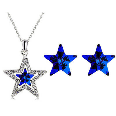 Royal Dark Blue Star Shaped Stud Earrings Christmas Pendant Necklace S902