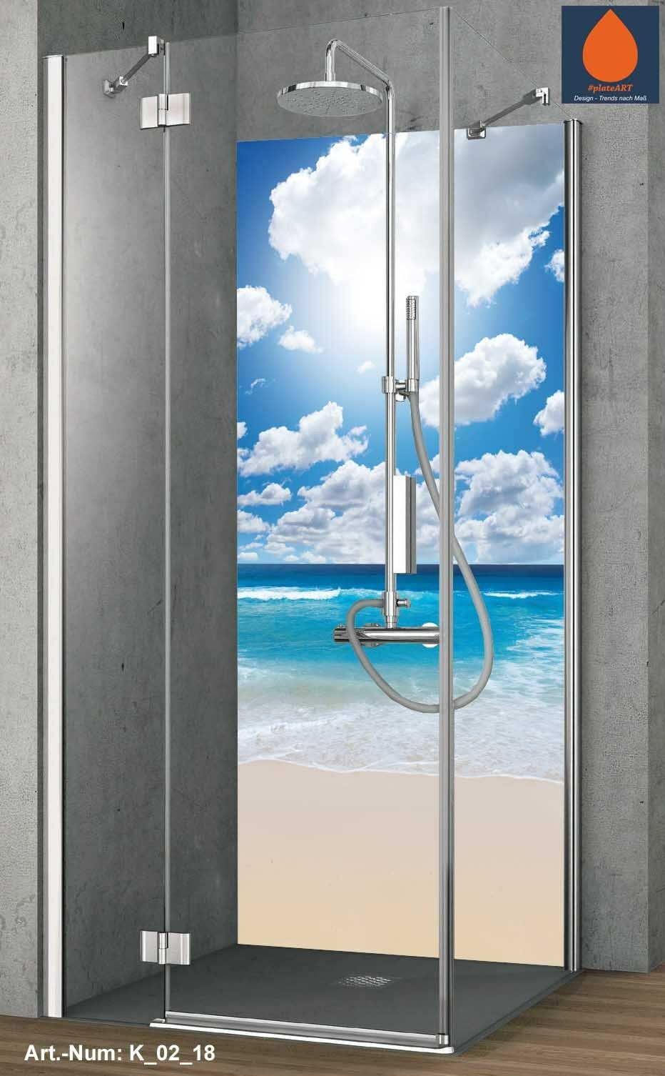 Coin duschrückwand Mur Arrière douche alu, Carreaux de rechange, Caraïbes Caraïbes Caraïbes Plage et Mer 627707