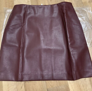 Adaptable New Look Size 12 Burgundy Leather-look Pu Mini Skirt Customers First