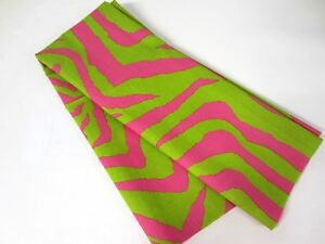Hot Pink Lime Green Zebra Stripe Cotton Duck Upholstery Fabric 1 Yd