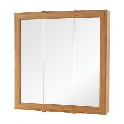 Fog Free Framed Surface-Mount Tri-View Bathroom Medicine ...