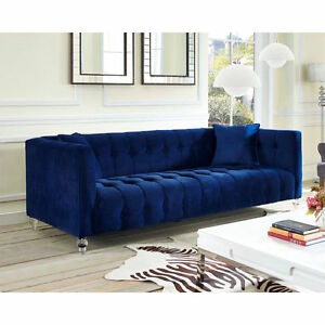 Horchow replica navy velvet jewel tone modern tufted sofa for Designer sofa replica