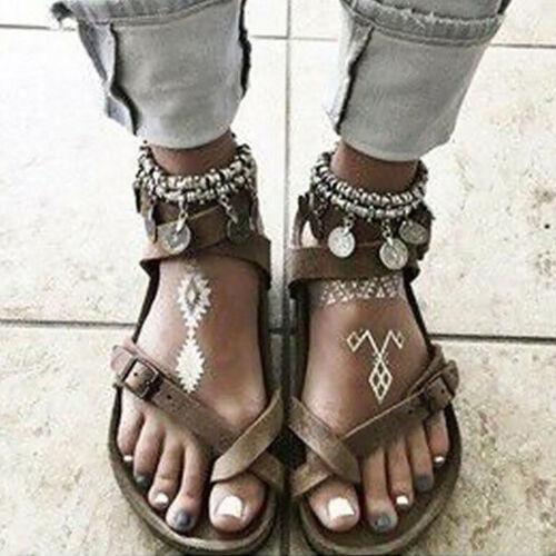 Women Flat Gladiator Sandal Summer Holiday Espadrilles Ankle Strap Roma Shoes