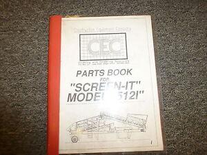 CEC Model 5121 Screen It Dirt Screener Parts Catalog Manual Book | eBay