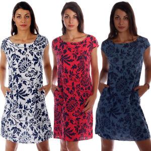 Leinen Kleid im exotischen Druck Design Kurzarm Estate Italiana Gr.36 - Gr.44