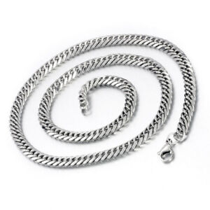 6da95e437a4 Details about Unisex's Men Stainless Steel Necklace Flat Cuban Curb Link  Chain Silver 23.19