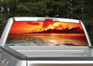 Tropical Exotic Beach Rear Window Decal Graphic Sticker Car Truck SUV Van 472