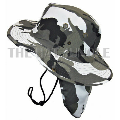 06582f21 Details about Boonie Hat with Neck Flap Fishing Outdoor Cap Military Snap  Wide Brim City-Camo