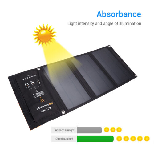 Portable Foldable 21W Solar Panel Charger with 2 USB Port for Smartphone Travel