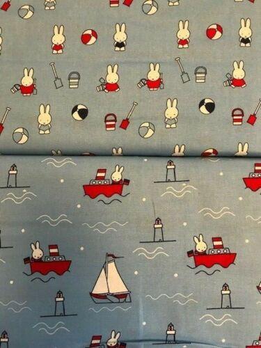 2 Fat Quarters Miffy Conejo en el Mar Barco Azul Rojo Rango de 100/% algodón