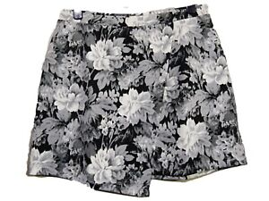 NEW LADIES SIMPLY BE GREY//BLACK//WHITE WRAP EFFECT KNEE LENGTH FLORAL SKIRT 16 18
