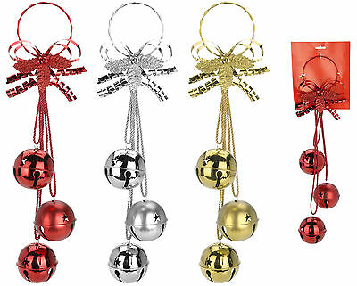 3 large oversize christmas bells wall hanging christmas decoration sleigh bells - Large Christmas Bells Decorations